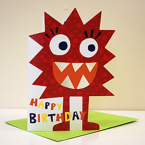 Little Monster Monty Birthday Card