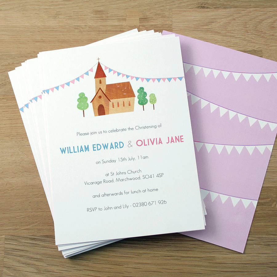 personalised twin's christening invitations by made by ellis | notonthehighstreet.com