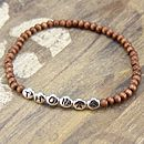 Brown round wooden bead bracelet