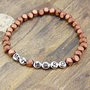 Brown square wooden bead bracelet