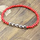 Red round wooden bead bracelet