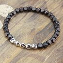 Black square wooden bead bracelet