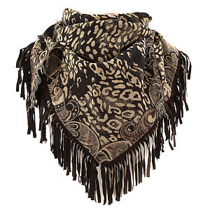 Leather Fringed Animal Print Wool Scarf - pashminas & wraps