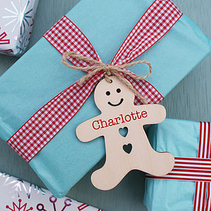 Personalised Gingerbread Man Wooden Tag - cards & wrap