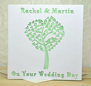 Laser Cut Wedding Tree Heart Card - wedding cards