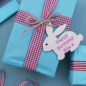 Personalised Wooden Bunny Gift Tag