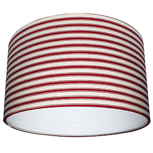 Handmade Ticking Lampshade In Cardinal Red - lamp bases & shades
