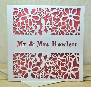 Personalised Laser Cut Wedding Card - wedding, engagement & anniversary cards