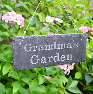 Engraved Slate Grandma's Garden Sign - art & decorations