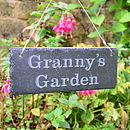 Engraved slate sign for Granny's Garden