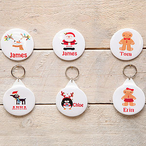 Christmas Personalised Badge Or Key Ring - christmas parties & entertaining