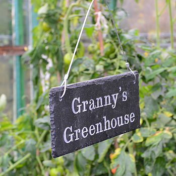 Engraved Slate Granny's Greenhouse Sign