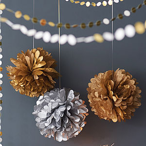 Metallic Hanging Pom Pom Decoration 25cm - tree decorations