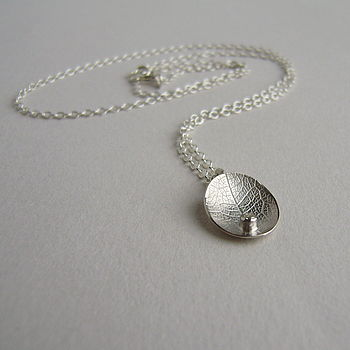 Silver And Diamond Little Leaf Necklace