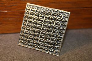 Silver Square Domed Brooch