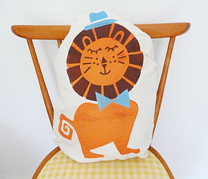 Handprinted Children's Lion Cushion