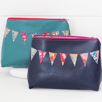 Personalised Leather Bunting Make Up Bag