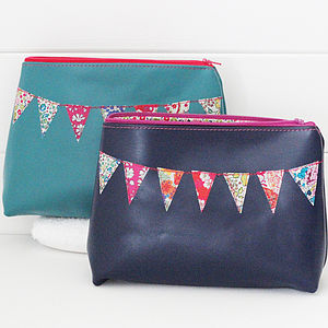 Personalised Leather Bunting Cosmetics Bag