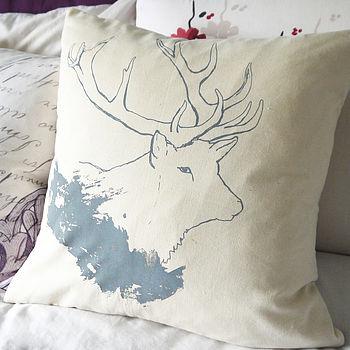 Cotton British Stag Cushion
