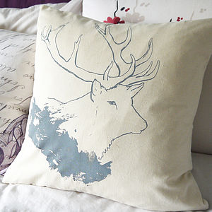 Cotton British Stag Cushion - christmas home