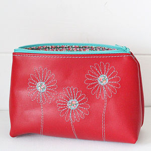 Personalised Leather Daisy Cosmetics Bag - make-up & wash bags