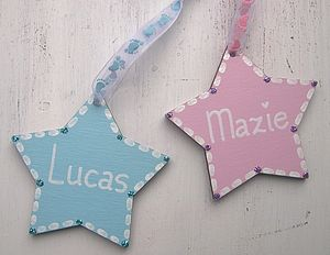 Personalised Colourful Wooden Star - ribbon & wrap