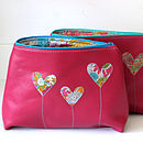 Personalised Leather Heart Cosmetic Bag