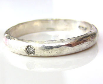 Sterling Silver Band With Diamond