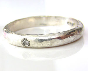 Sterling Silver Band With Diamond - rings