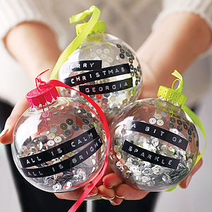 Personalised Dymo Tape Bauble - christmas sale
