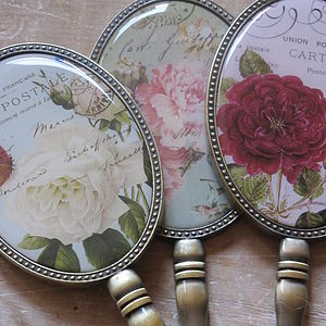 Vintage Style Floral Design Hand Held Mirrors - bedroom