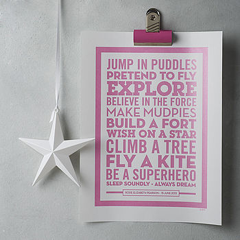 Personalised 'Superhero' New Baby Poster