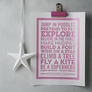 Personalised 'Superhero' New Baby Poster - children's room