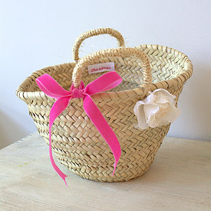 Velvet Ribbon Flowergirl Basket - wedding fashion