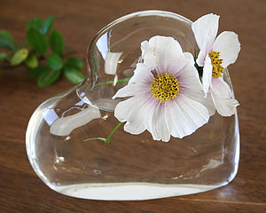 Glass Vase 'Heart' - home accessories