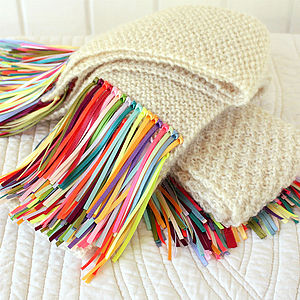 Pure Wool And Ribbon Fringed Scarf - women's accessories