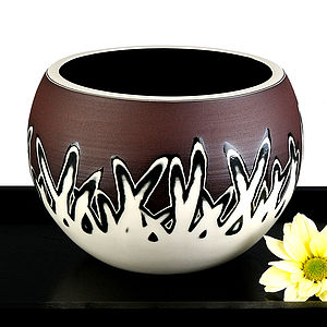 Handmade Ceramic Scratch Design Bowl/Vase - vases