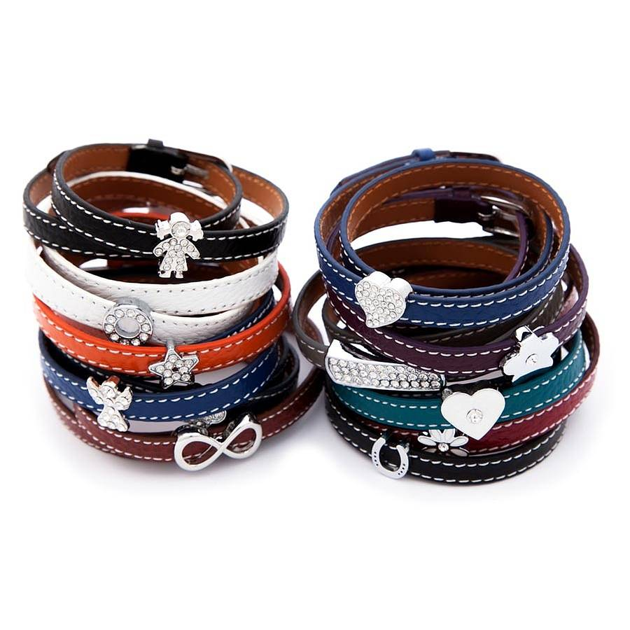 Leather Wrap Around Charm Bracelet