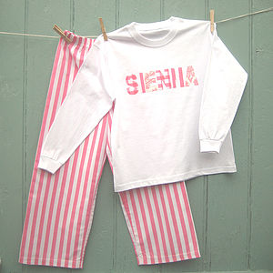 Personalised Printed Stripe Pyjamas - clothing