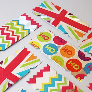 Pack Of Six Bright Christmas Cracker Cards