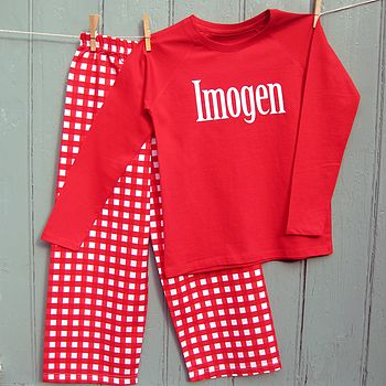 Personalised Printed Check Pyjamas