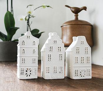 Porcelain Canal House Tea Lights, Set Of Three