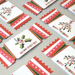Pack Of Six Christmas Stripe Cracker Cards
