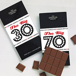 Birthday Milestone Chocolate Bar - 70th birthday gifts