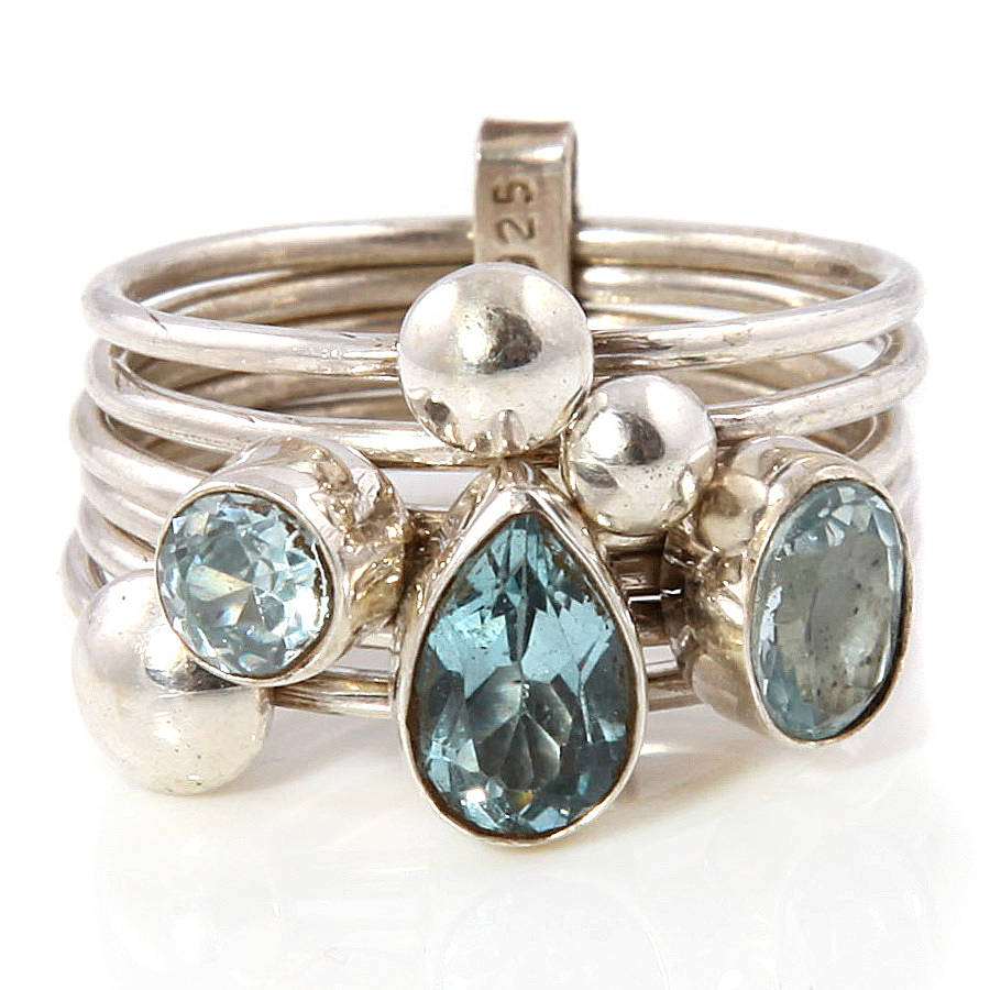 aquamarine silver stacking ring by s web