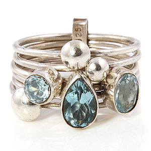 Handmade Aquamarine Silver Stacking Ring - rings