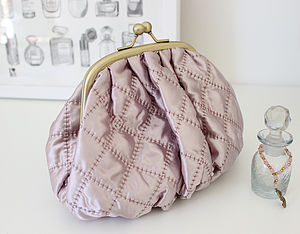 Luxury Pink Quilted Cosmetic Bag - make-up & wash bags