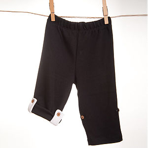 Black Organic Tracksuit Bottoms Tie Up - babies' trousers