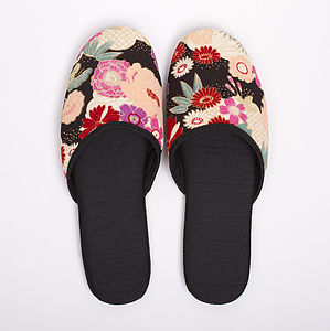 Kimono Slippers In A Draw String Bag Sakura - women's fashion