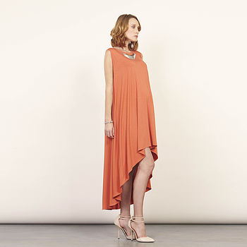 Orange Dipped Back Hem Swing Dress